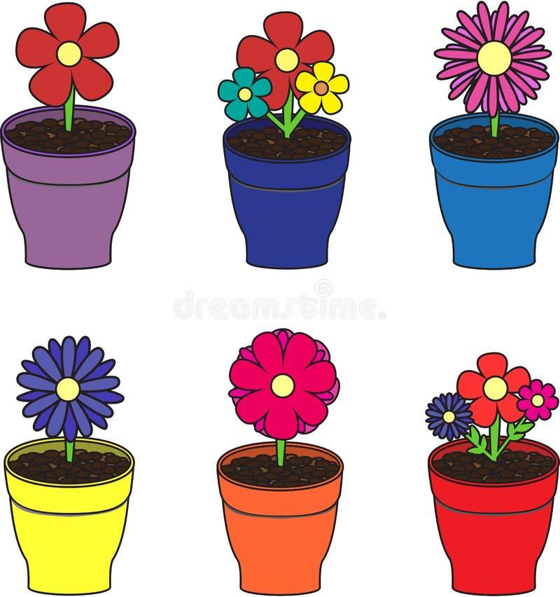 Kwiaty w garnkach ustawiających obrazy stock