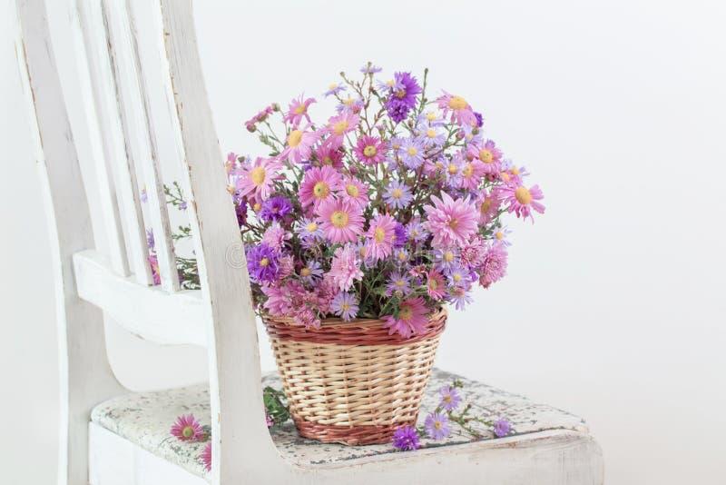 Kwiaty w koszu na starym białym krześle fotografia royalty free