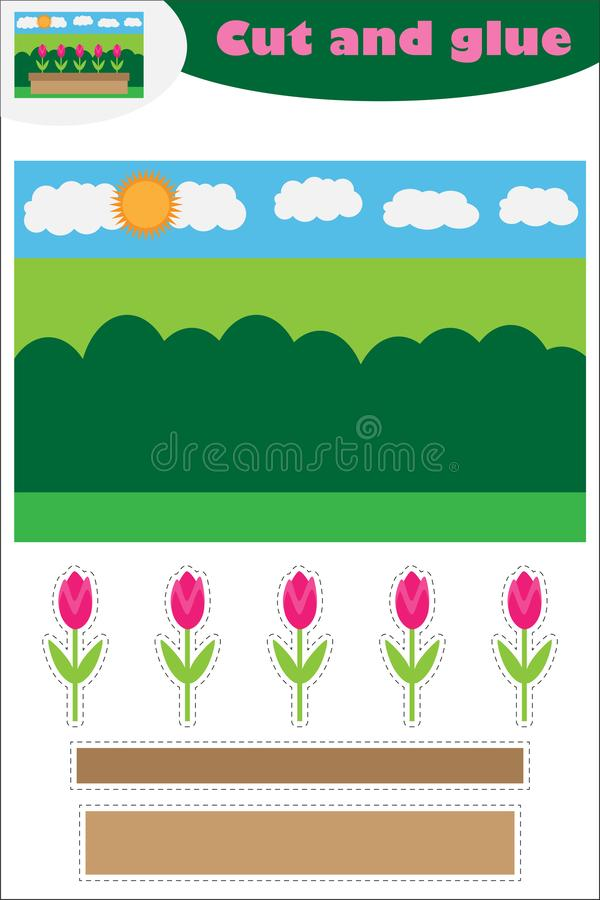 Kwiaty w ogrodowej kreskówce, edukacji gra dla rozwoju preschool dzieci, używają nożyce i kleidło tworzyć royalty ilustracja