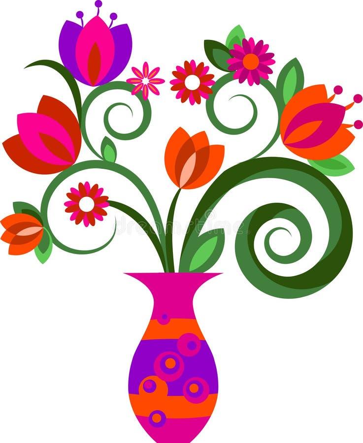 Kwiaty w wazie ilustracja wektor