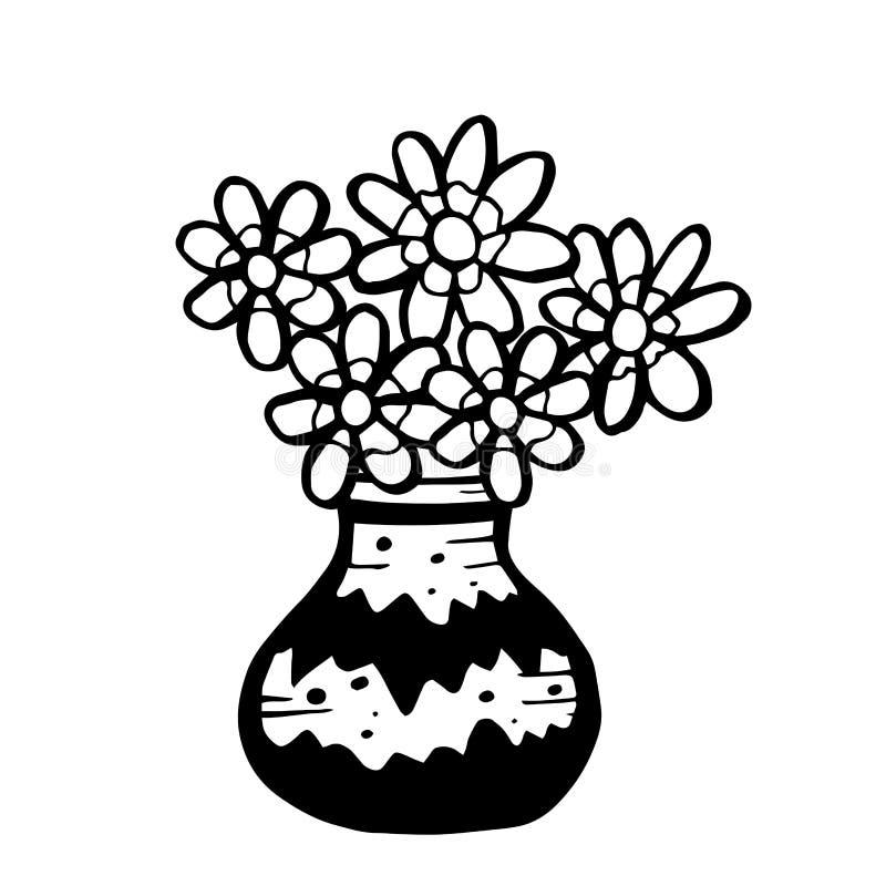 Kwiaty w wazonie wyizolowanym na białym tle Rysunek wektora doodle naręcznego royalty ilustracja
