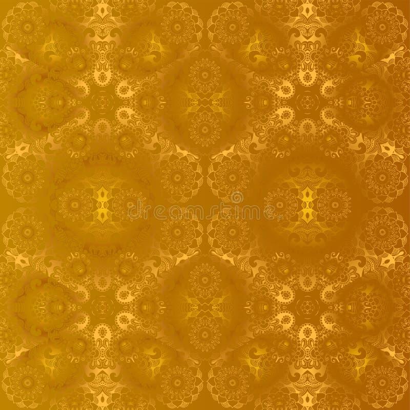 kwiaty zielenieją ilustracyjnego liść mandala wzoru bezszwowych brzmienia royalty ilustracja