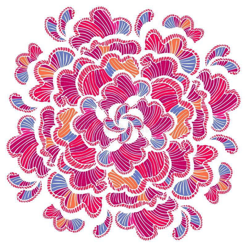 kwiaty zielenieją ilustracyjnego liść mandala wzoru bezszwowych brzmienia Wektorowa ręka rysujący projekta szablon Boho projektuj ilustracja wektor