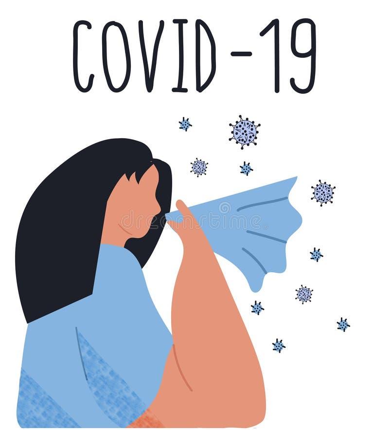 Kwid 19 chiński novel coronavirus 2019-nCoV u kobiet z alergią, gorączką, alergią na pyłki cedrowe, objawami ilustracji