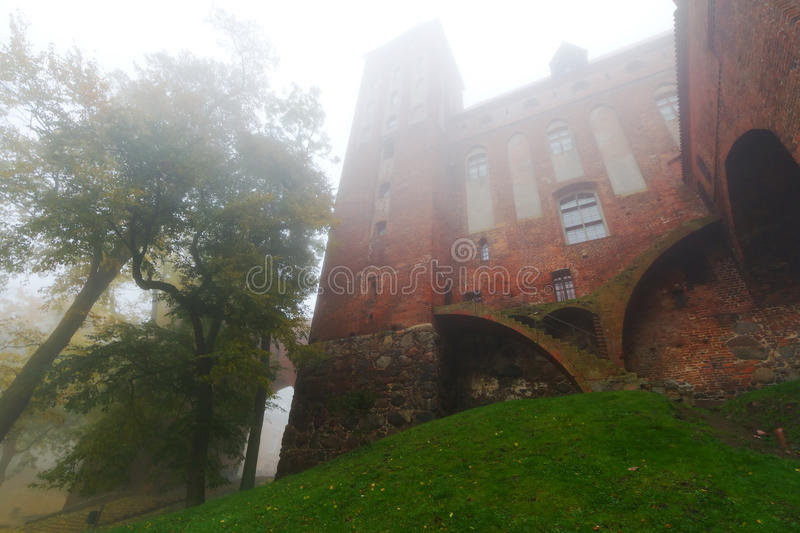 Kwidzyn castle and cathedra in fog royalty free stock photos