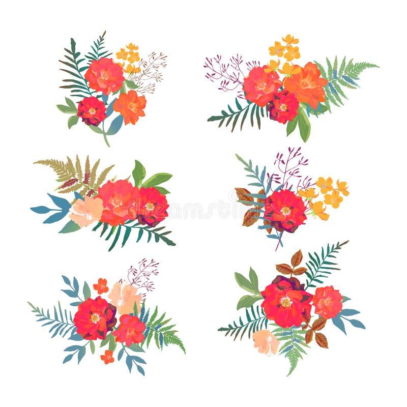kwieciści dekoracyjni elementy dużo ustawiają Kolekcja z czerwonymi pomarańczowymi pięknymi kwiatami Ręka d ilustracja wektor