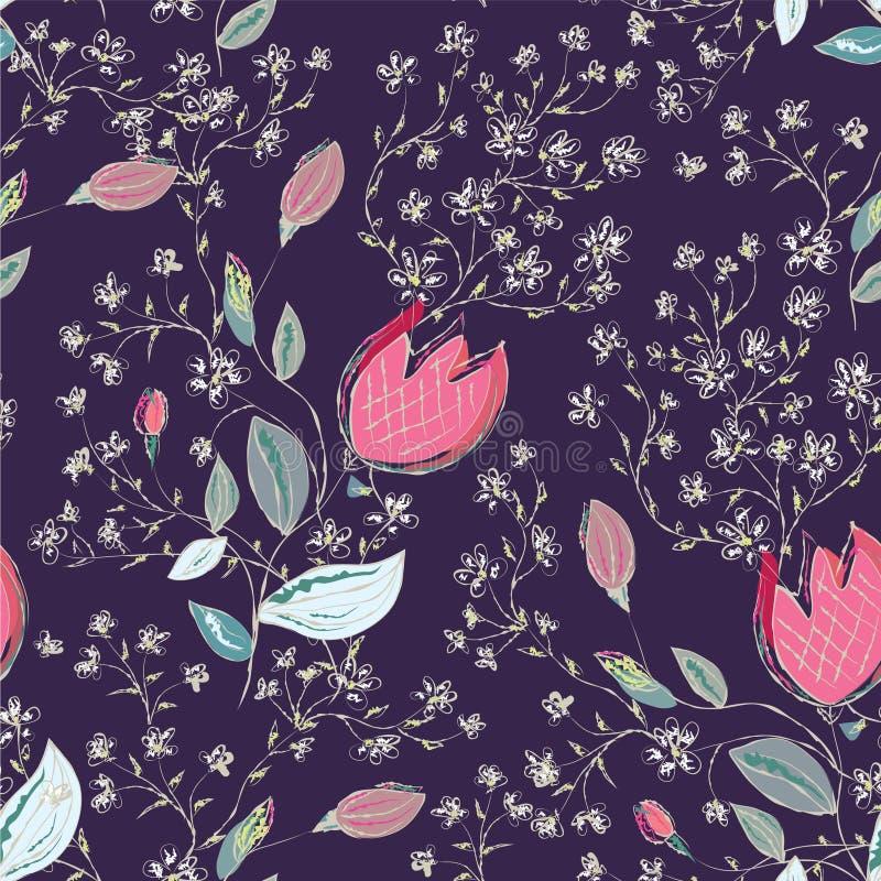 kwieciści deseniowi bezszwowi tulipany ilustracja wektor