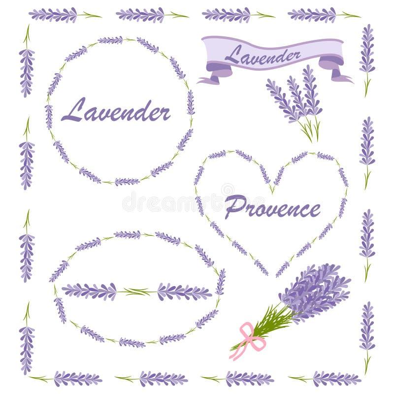Kwieciści elementy dla loga lub wystroju Lawendowe ikony ustawiać: kwiaty, kaligrafia, kwieciści elementy ilustracja wektor