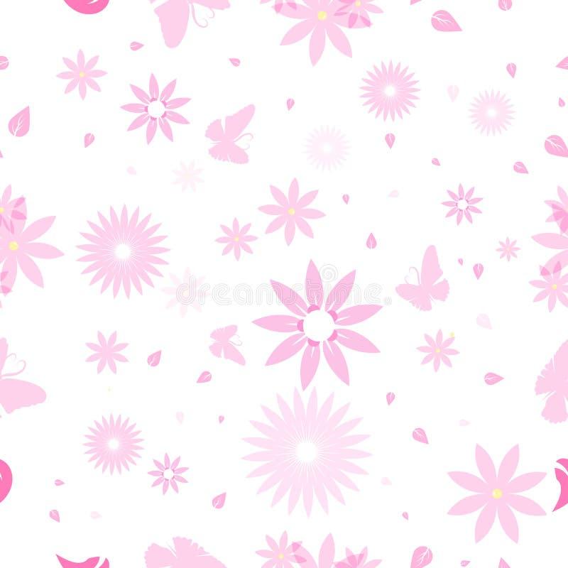 Kwieciści i motyli bezszwowi wzór menchii kwiaty rozpraszają w na ilustracja wektor