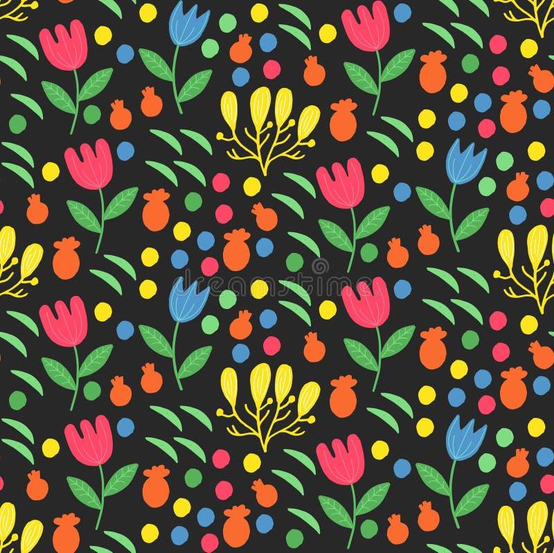 Kwieciści kwiaty kropkują dekoracyjnego doodle wektoru bezszwowego wzór royalty ilustracja
