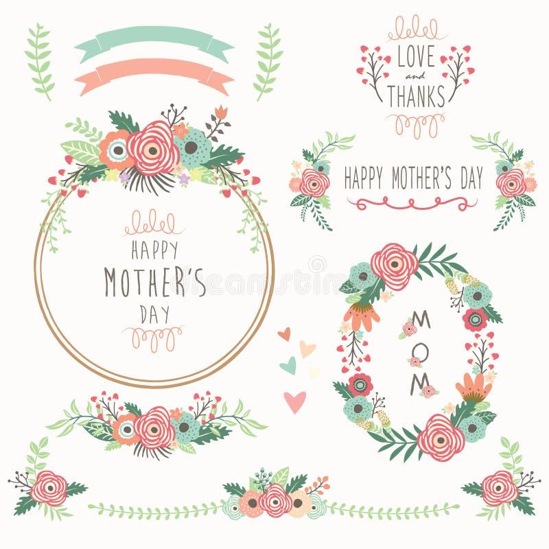 Kwieciści matka dnia elementy ilustracji