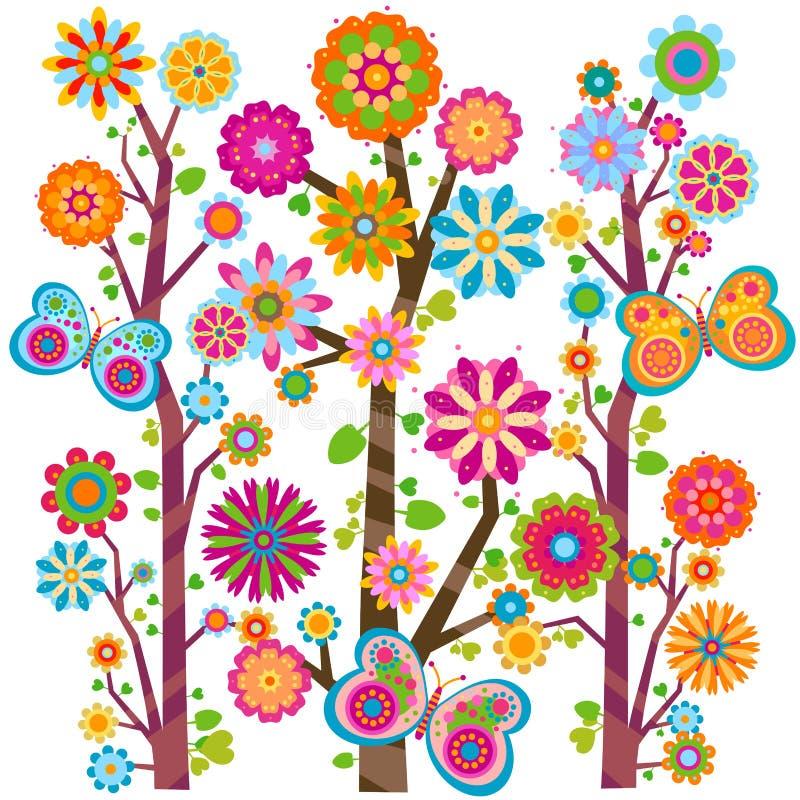 kwieciści motyli drzewa ilustracja wektor