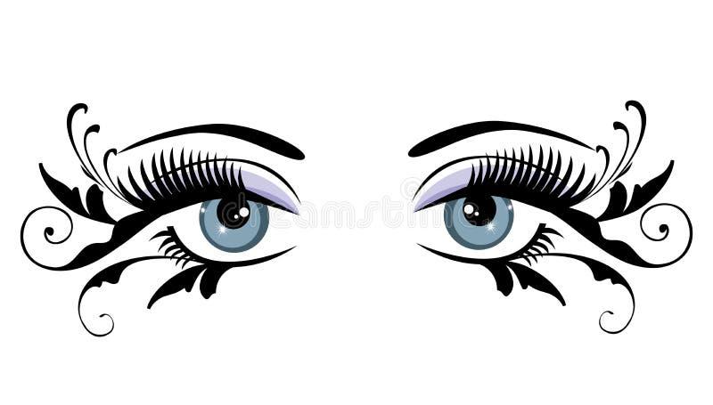 Kwieciści niebieskie oczy Z zawijasami royalty ilustracja