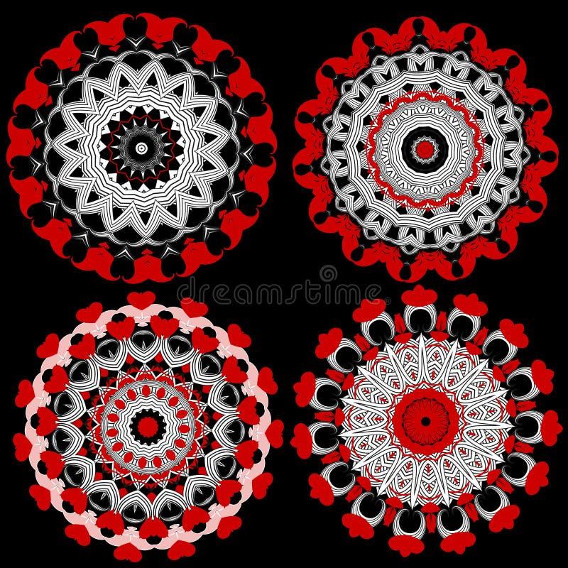 Kwieciści ornamentacyjni round mandala wzory ustawiający Wektor kwitnie kolekcj? dni serc mi?o?? jest walentynka ilustracyjny Kre ilustracja wektor