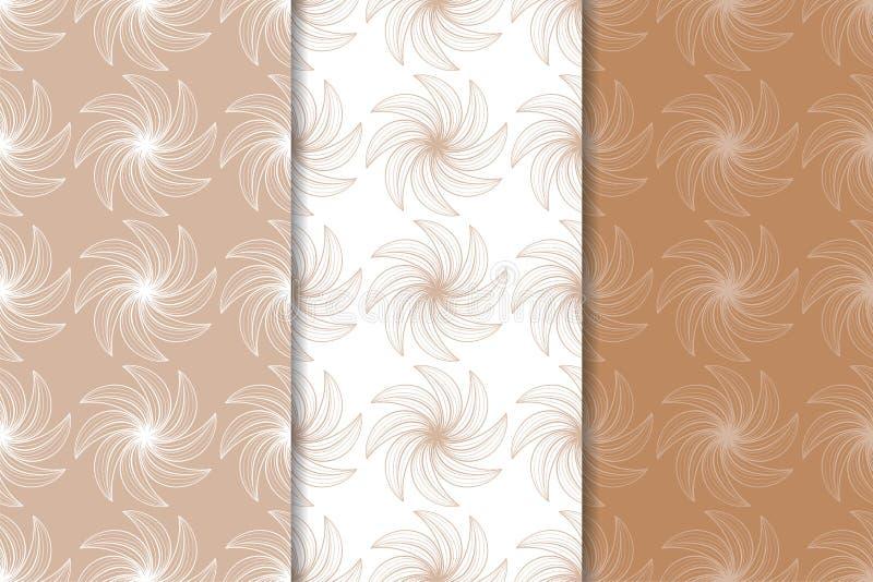 kwieciści ozdoby odłogowania Brown, beżu i białych bezszwowi wzory, royalty ilustracja