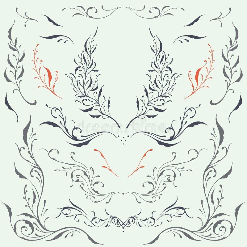 Kwieciści ramy & granicy ornamenty ilustracja wektor