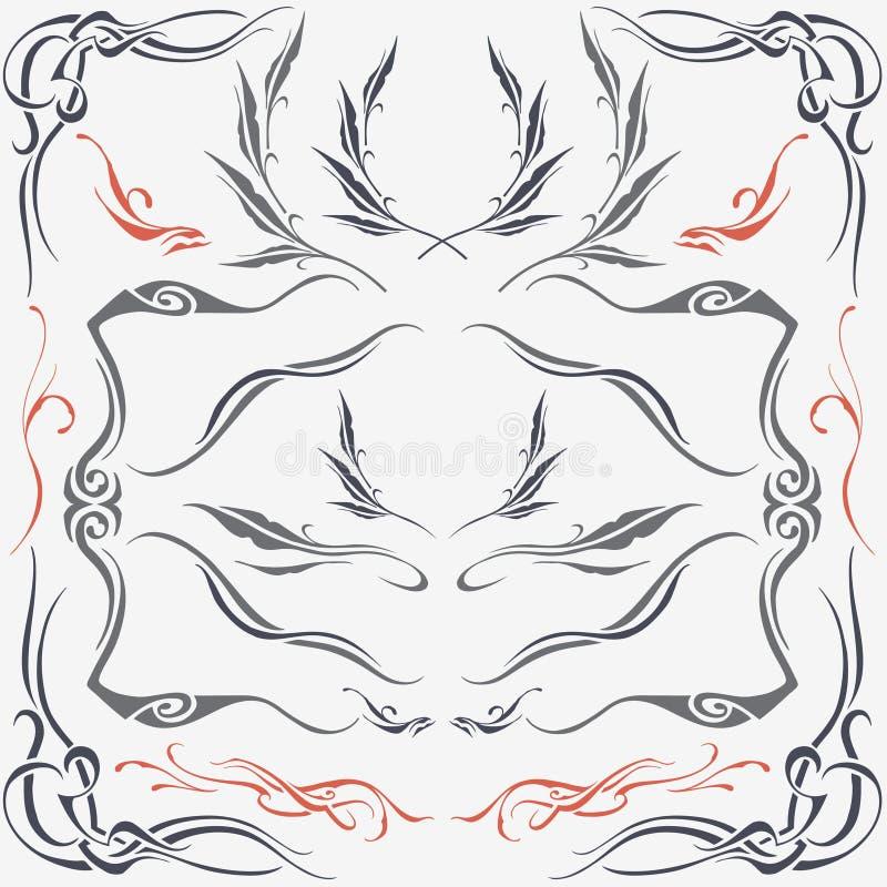 Kwieciści ramy & granicy ornamenty royalty ilustracja