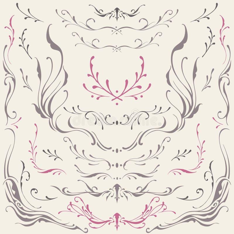 Kwieciści ramy i granicy ornamenty ilustracja wektor