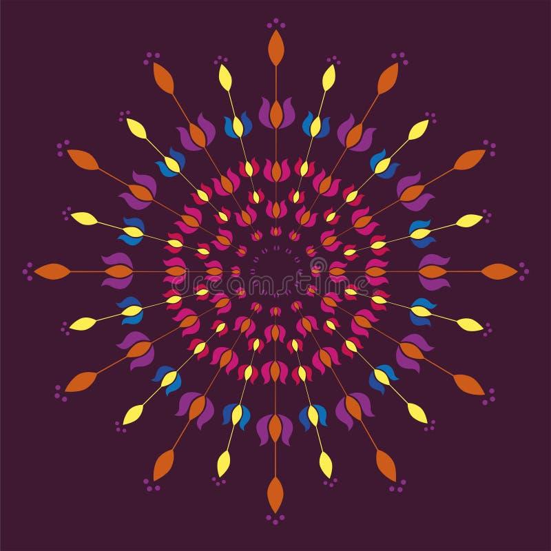 Kwieciści tulipanowi mandalas royalty ilustracja
