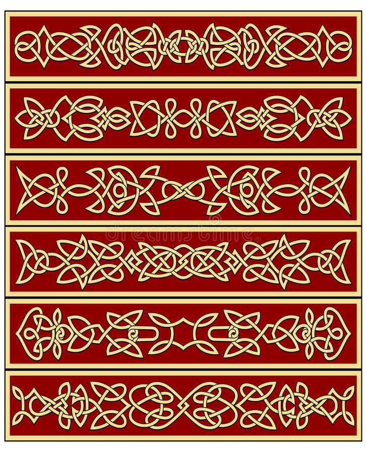 Kwieciści tradycyjni celt kępki ornamenty ilustracja wektor
