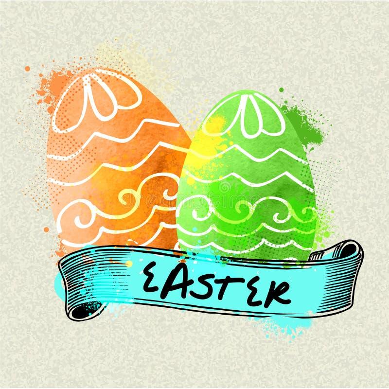 Kwieciści Wielkanocni jajka z błękitnym faborkiem royalty ilustracja