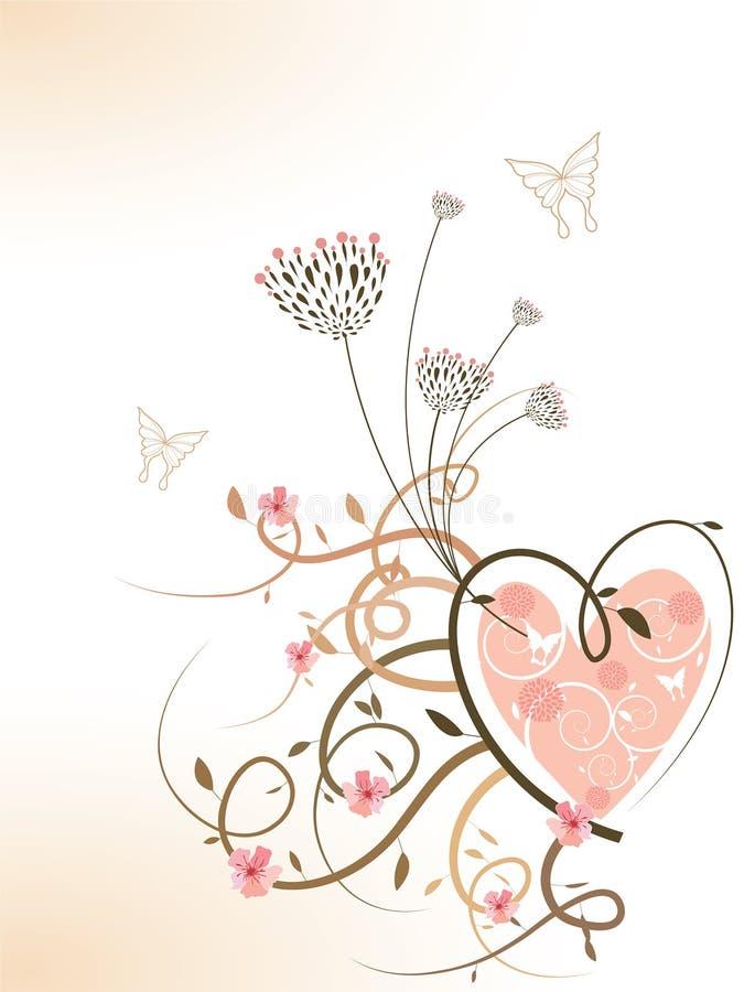 kwieciści wiosnę kwitnie serce różowe ilustracja wektor