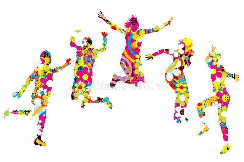 Kwieciści wzorzyści młodzi ludzie sylwetek skakać ilustracji