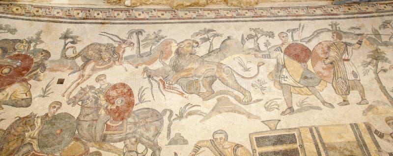 2011 Kwiecień Casale Del Odkrycie najpierw rozpada się dziedzictwa mozaiki fotografii rzymskiego romana Sicily miejsca unesco wil zdjęcie royalty free
