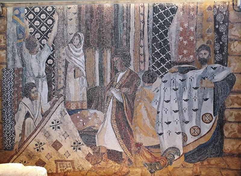 10 2018 Kwiecień, Jerozolima, Izrael Mozaika inspirująca Ravenna mozaikami odsłaniał w Żydowskiej ćwiartce Jerozolima Stary zdjęcie royalty free