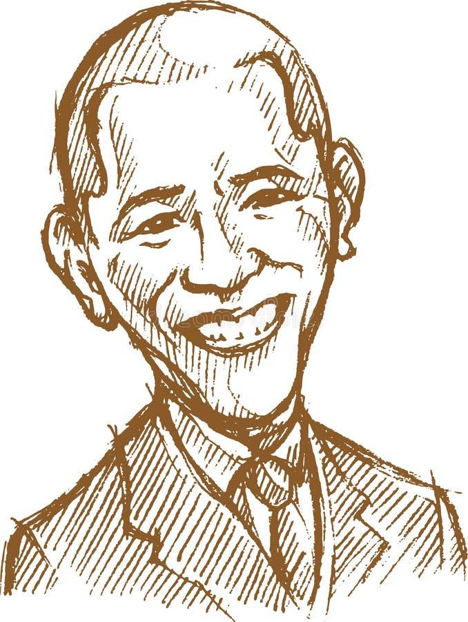 Kwiecień 3, 2017: Karykatura portret 44th prezydent usa Barack Obama royalty ilustracja
