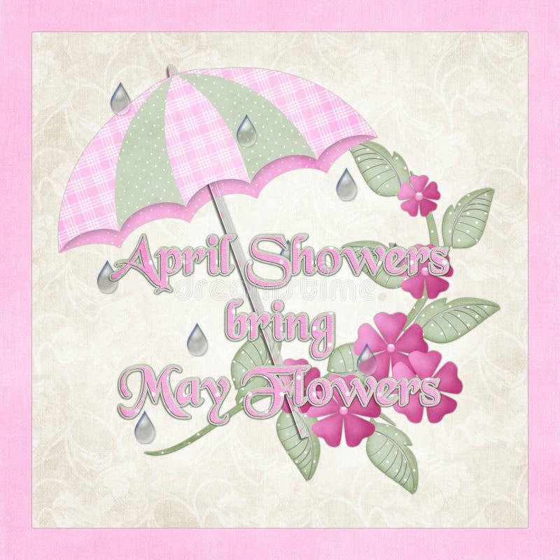 kwiecień przynosi kwiaty może prysznic ilustracji