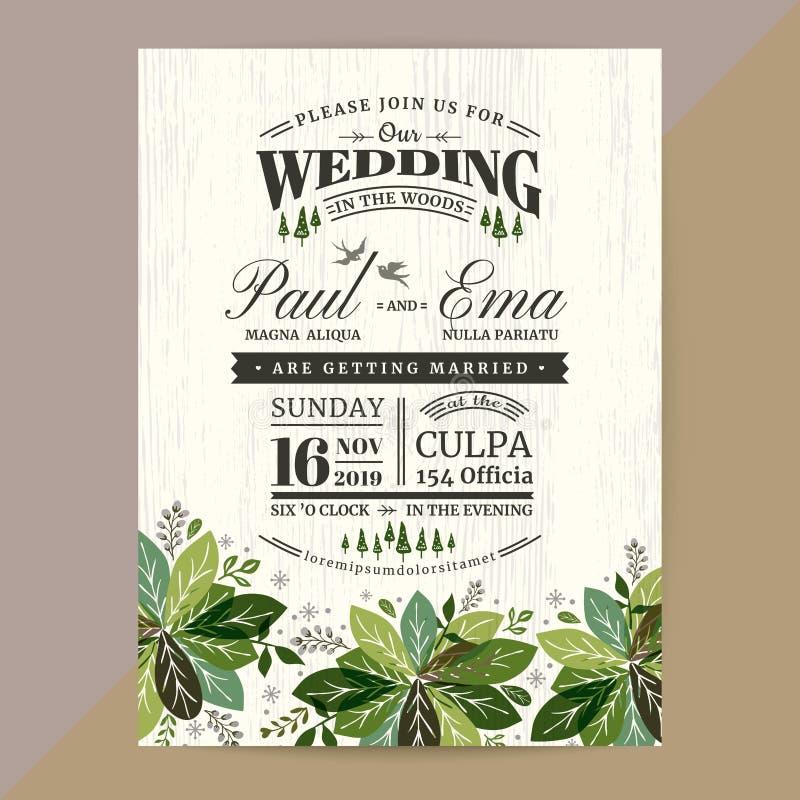 Kwiecista Ślubna zaproszenie karta z zielonymi liśćmi ilustracja wektor