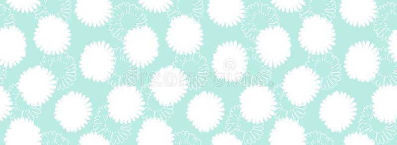 Kwiecista abstrakt granica Bezszwowy wzór z białymi kwiatami na błękitnym tle ilustracji