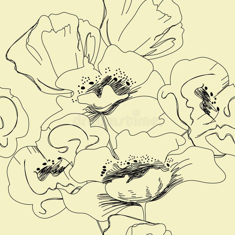 kwiecista bezszwowa tapeta ilustracja wektor