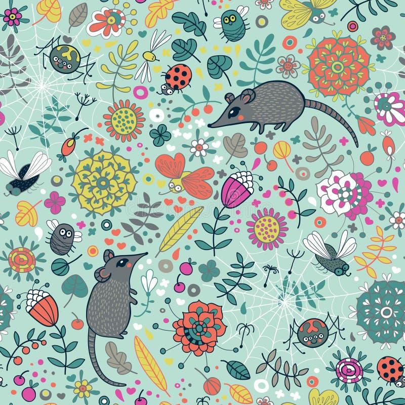 Kwiecista bezszwowa tekstura, wzór z kwiatami, mic royalty ilustracja