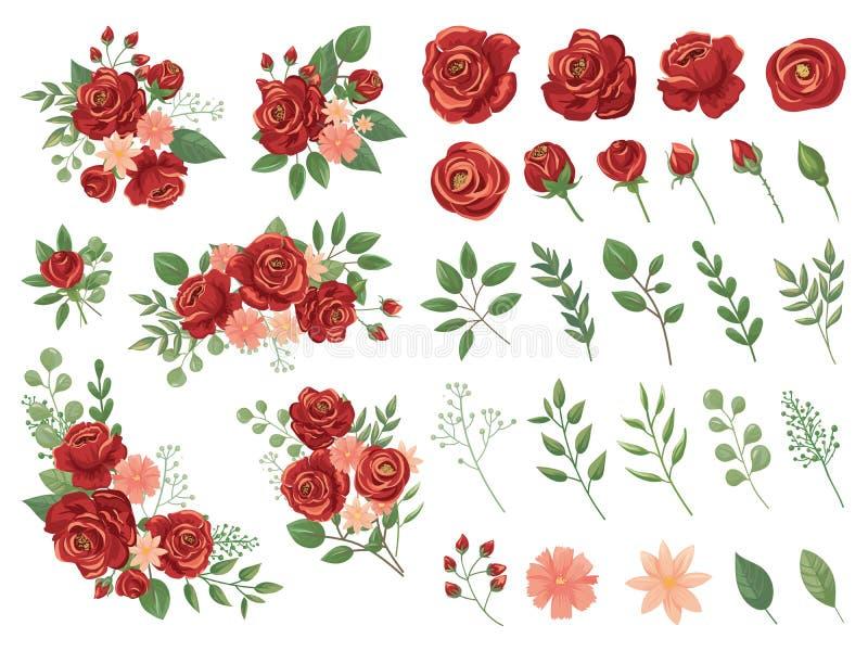 kwiecista bukiet czerwie? Burgundy róży kwiat, rocznik róż bukiety i wiosna kwiatów ilustracji wektorowy set, royalty ilustracja