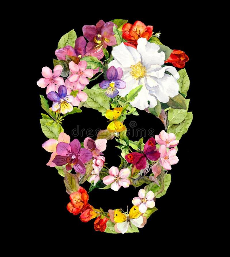 Kwiecista czaszka z roczników kwiatami Akwarela Halloween zdjęcia royalty free