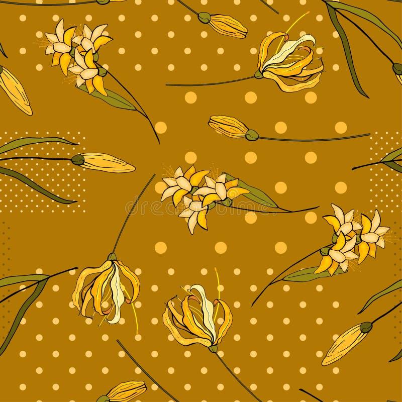 Kwiecista egzotyczna rocznik dekoracja Wektorowy t?o Nowo?ytny dzikich kwiat?w druk royalty ilustracja