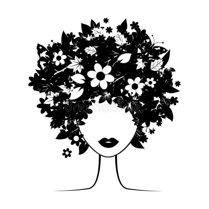 kwiecista fryzura royalty ilustracja