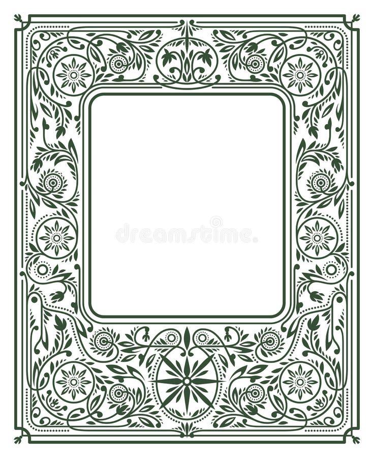 Kwiecista granica lub rama Biel przestrzeń w Centre royalty ilustracja
