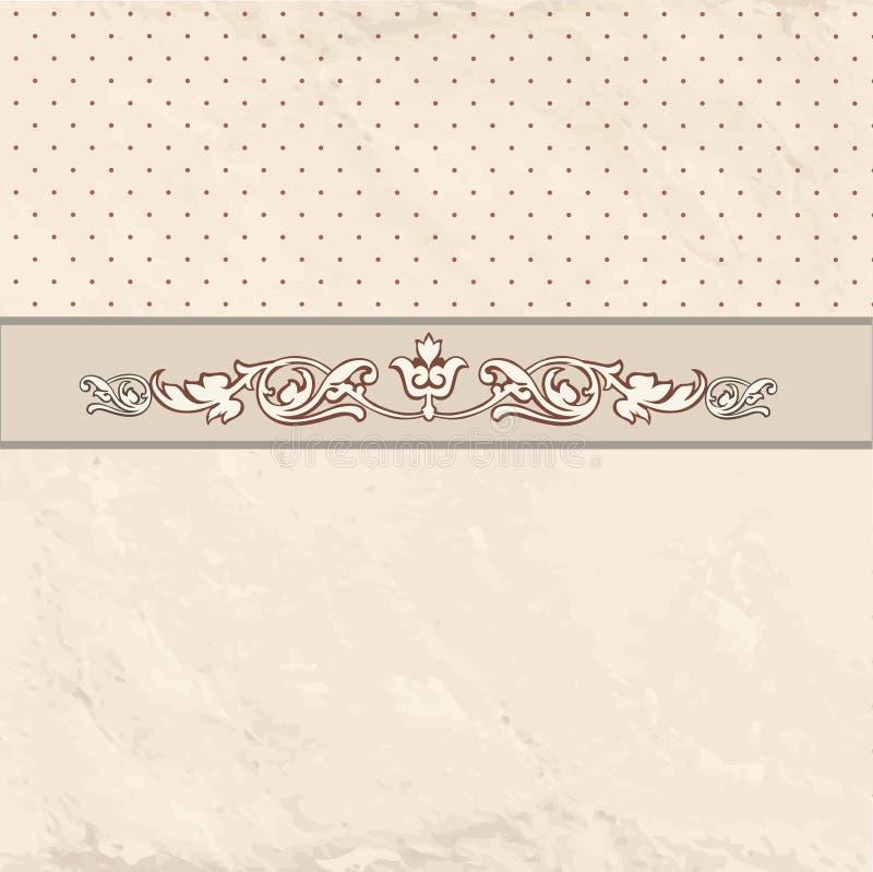 Kwiecista granica na rocznika tle Stary papier z patern w ponownym ilustracji