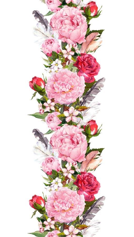 Kwiecista granica z różową peonią kwitnie, róże, czereśniowy okwitnięcie, ptasi piórka Rocznika bezszwowy lampas w boho stylu royalty ilustracja