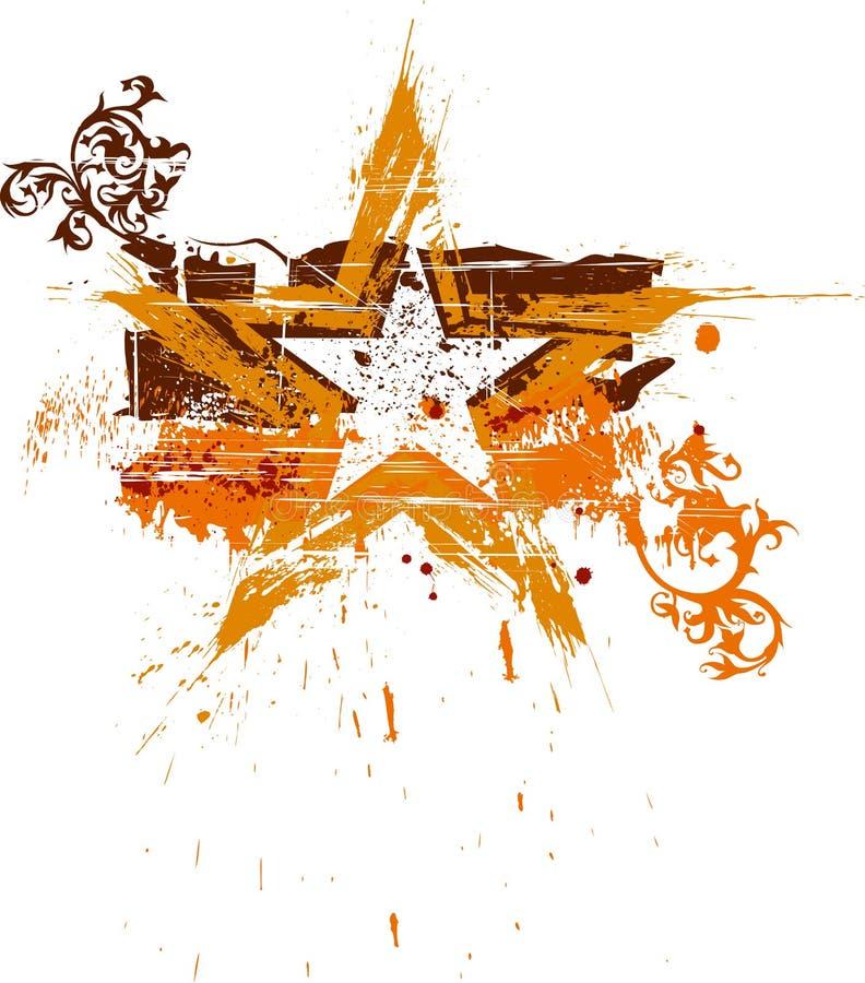 kwiecista grunge złota gwiazda royalty ilustracja