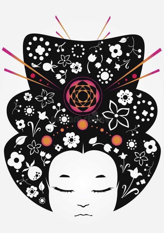 Kwiecista Japonia dziewczyna royalty ilustracja