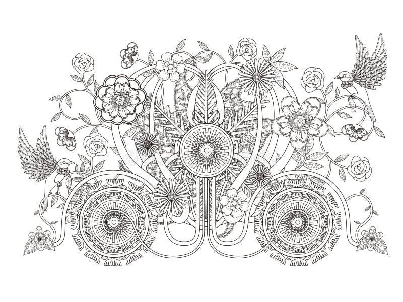Kwiecista kareciana dorosła kolorystyki strona ilustracja wektor