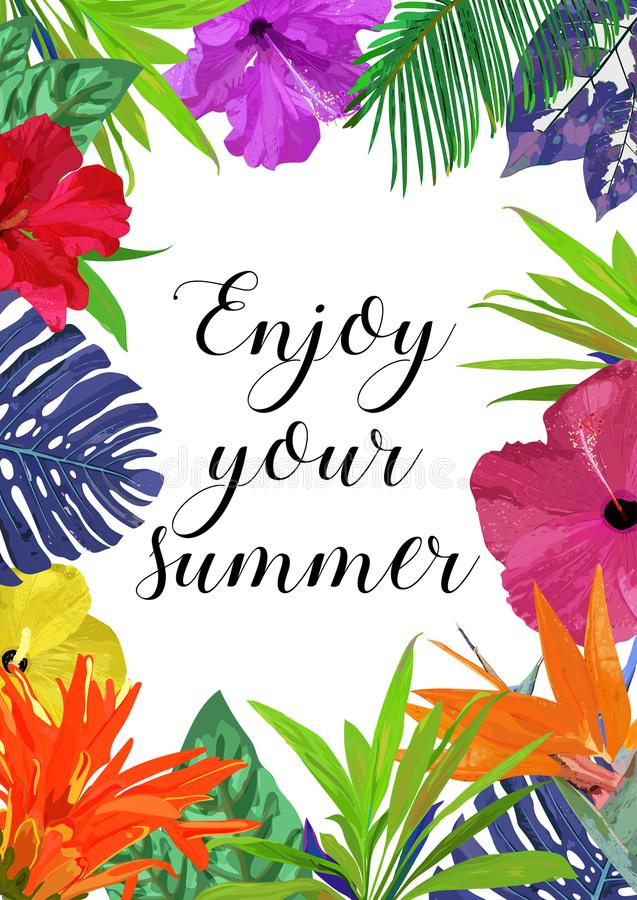 Kwiecista karta z ramą dla teksta Cieszy się twój lato Odosobniony colo ilustracji