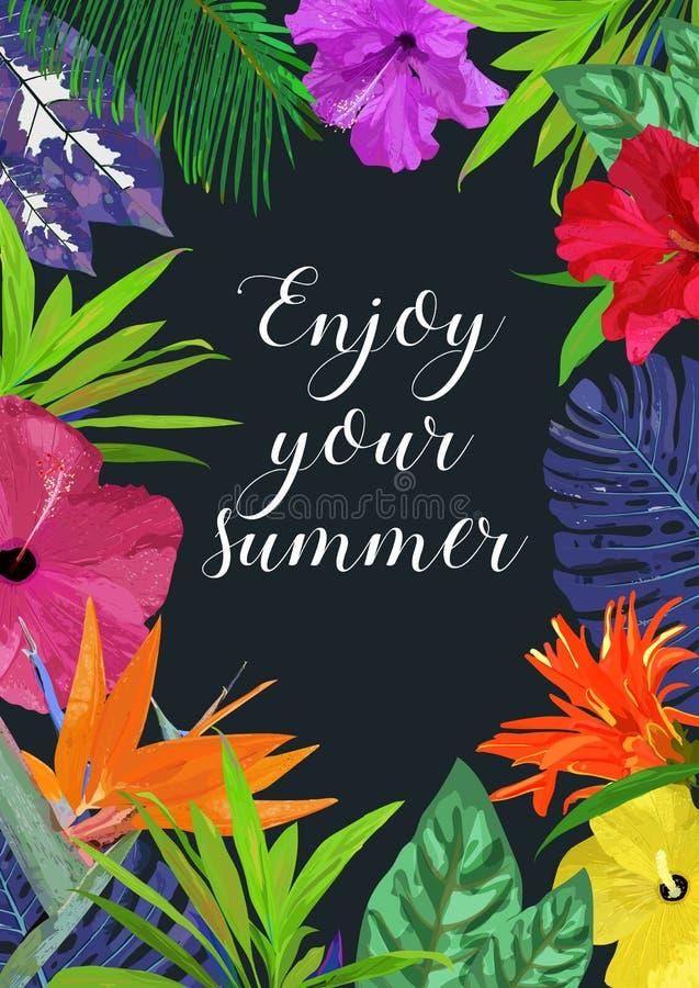 Kwiecista karta z ramą dla teksta Cieszy się twój lato Odosobniony colo ilustracja wektor