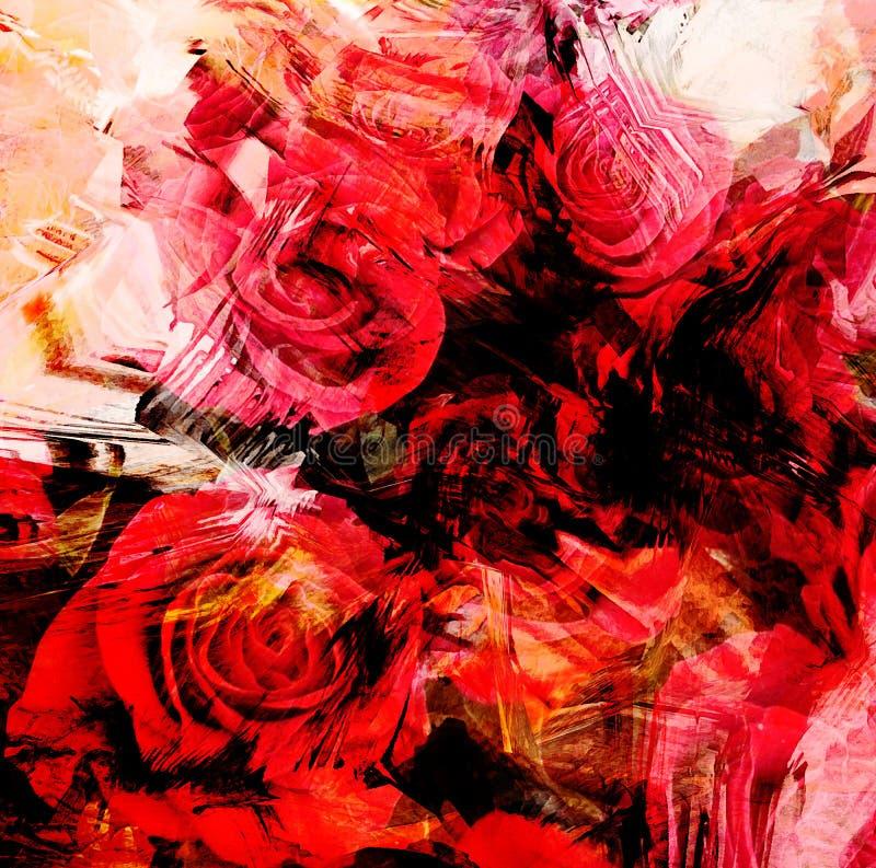 Kwiecista karta z stylizowanymi czerwonymi różami ilustracji