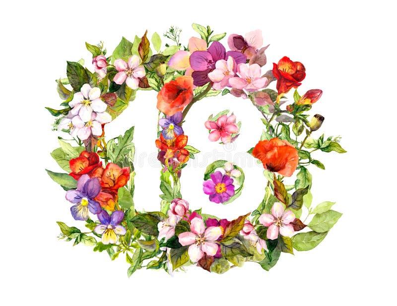 Kwiecista liczba 18 osiemnaście od kwiatów i trawy akwarela ilustracja wektor