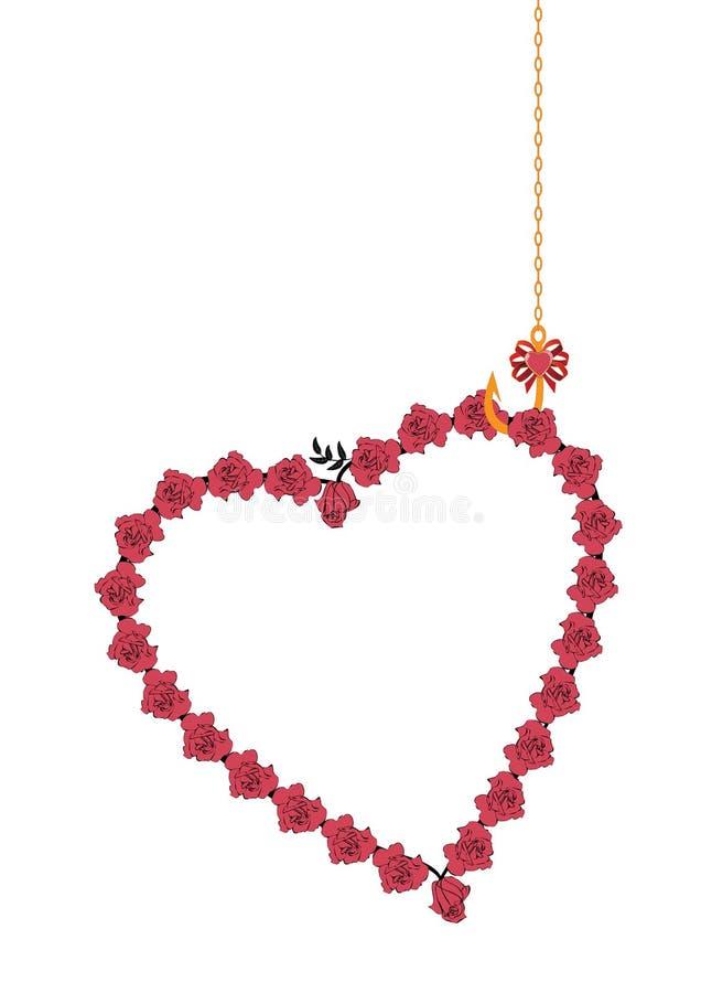 Kwiecista miłości rama z różami ilustracja wektor